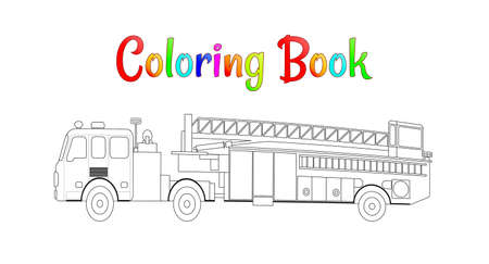 Fire truck coloring book vector. Coloring pages for kids Vector illustration eps 10. Illustration