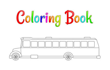 School bus coloring page, back to school concept, kids school vector illustration, school bus isolated on white background. EPS 10 Illustration
