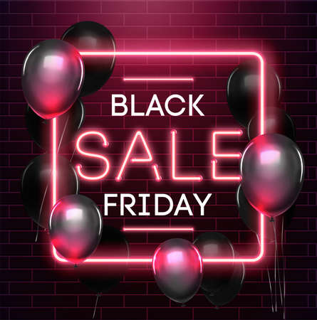 Black friday sale neon background. Black weekend sale banner. Black friday shopping illustration.