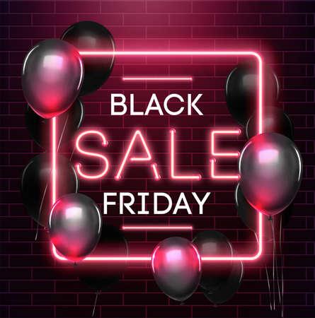 Black friday sale neon background. Black weekend sale banner. Black friday shopping illustration.
