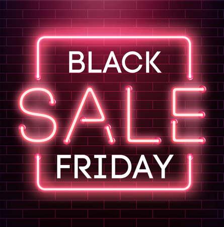 Black friday sale neon background. Black weekend sale banner. Black friday shopping Illustration