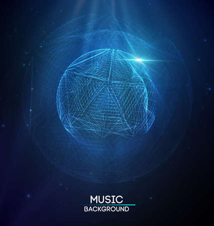 Music abstract background blue. Equalizer for music, showing sound waves with music waves, music background equalizer vector Vectores