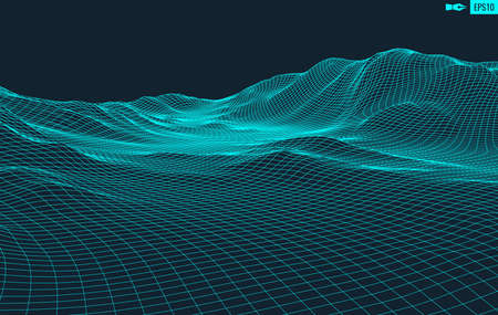 3D Wireframe Terrain Wide Angle