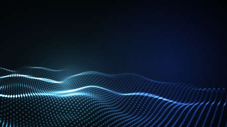 3D glowing abstract digital wave particles. Futuristic  illustration. HUD element. Technology concept. Abstract background.