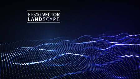 3D glowing abstract digital wave particles. Futuristic vector illustration. HUD element. Technology concept.