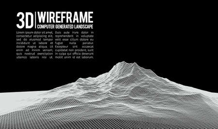 Abstract vector landscape background. Cyberspace landscape grid.