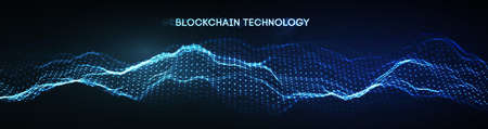 EPS 10. Blockchain technology background. Cryptocurrency fintech block chain network and programming concept. Abstract Segwit. Stock Photo