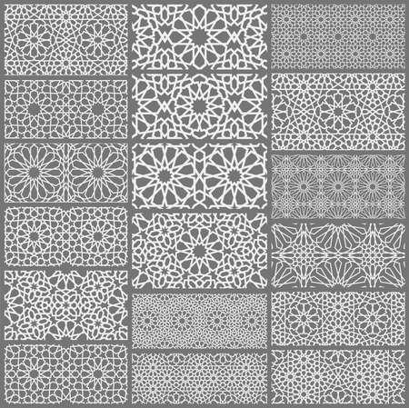 Islamischer Ornamentvektor, persisches Motiv. 3D-Ramadan islamische runde Musterelemente. Geometrischer kreisförmiger dekorativer arabischer Symbolvektor Vektorgrafik