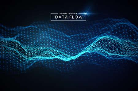 Computer data flow background. Vector EPS 10. Big data network technology.