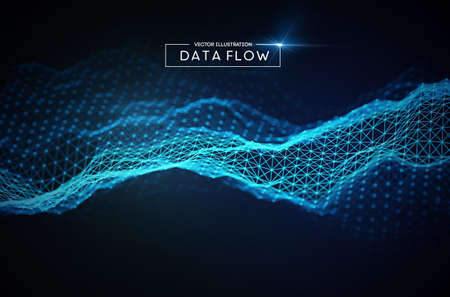 Computer data flow background. Vector EPS 10. Big data network technology.