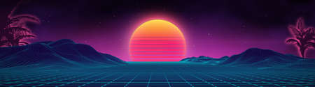 Retro background futuristic landscape 1980s style. Digital retro landscape cyber surface. 80s party background . Retro 80s fashion Sci-Fi Background Summer .