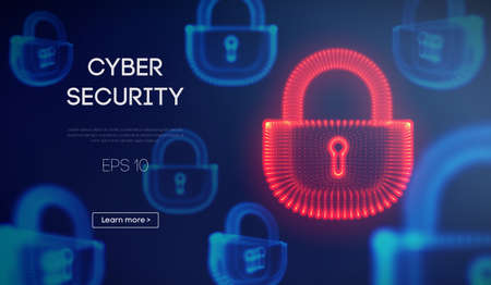 Coputer internet cyber security background. Cyber crime vector illustration. digital lock vector illustration .