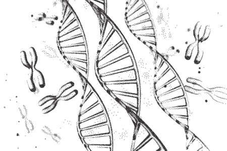 Genom-DNA-Vektor-Illustration. DNA-Struktur EPS 10. Genomsequenzierungskonzept der GVO und Genom-Editierung. Pharmazeutische Chemie und DNA-Forschung. Biotechnologie der Molekülverbindung.