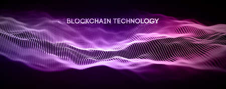 Blockchain technology background. Cryptocurrency fintech block chain network and programming concept. Ilustração