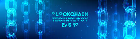 Blockchain technology background. Cryptocurrency fintech block chain network and programming concept. Banco de Imagens - 127206247