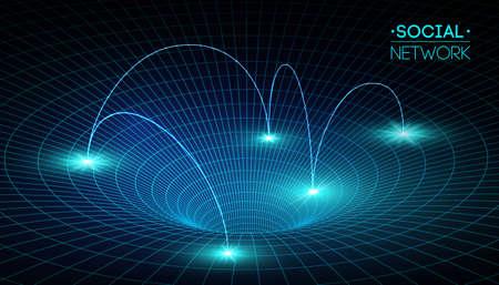 Soziale Netzwerkmedien weltweit. Menschenkommunikation und Informationen, die isometrische Illustration des Webs 3d teilen. Infografik-Konzeptvektor. Netzwerkverbindung, Geschäft. Vektorgrafik