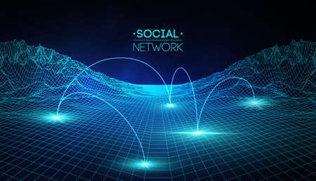 Medios de redes sociales globales. Comunicación de personas e intercambio de información ilustración isométrica web 3d. Vector de concepto de infografía. Conexión de red, negocios. Ilustración de vector