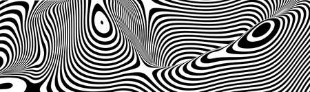 Optical illusion vector. Stripe perspective, curve stripes.