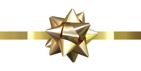 Isolated gift bow, present ribbon, gold holiday bow on white background. Ilustração