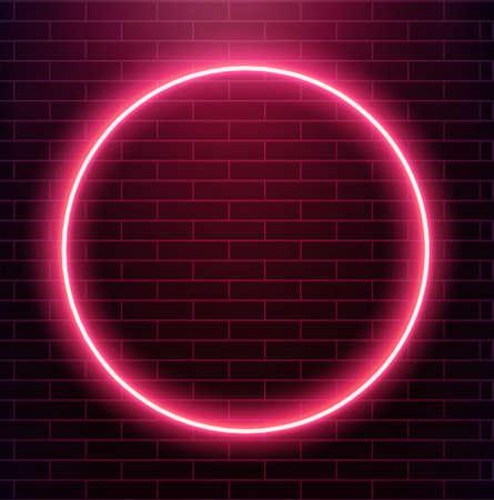 Neon circle on brick wall.