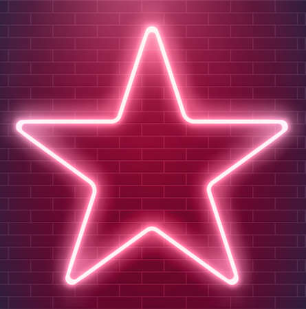 Bright disco design. Vector neon star. Glowing illuminated illustration.