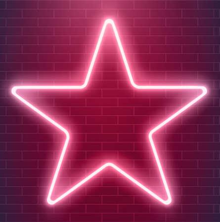 Jasny projekt dyskotekowy. Wektor neonowa gwiazda. Świecąca ilustracja podświetlana.