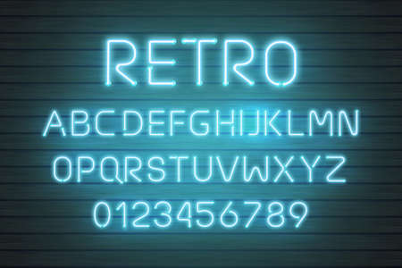 Light neon font letter set. Bar sign vector type. Glowing casino and cinema red text alphabet on wood planks wall. Retro background. Illustration