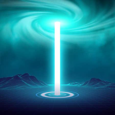 Portale futuristico di luce al neon blu, luce cilindrica laser a forma di corona con scintillii luminosi su sfondo trasparente. Magica illuminazione scintillante di polvere di stelle. Flusso di energia lampeggiante. Stazione ologramma.