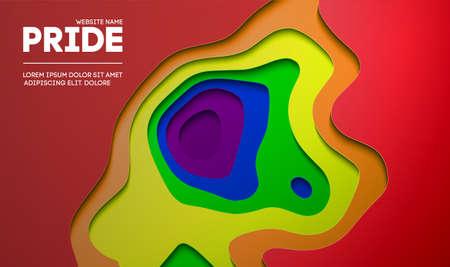 Pride concept background. Pride design for with pride flag colors. Paper cut rainbow, pretty and arrogant design.