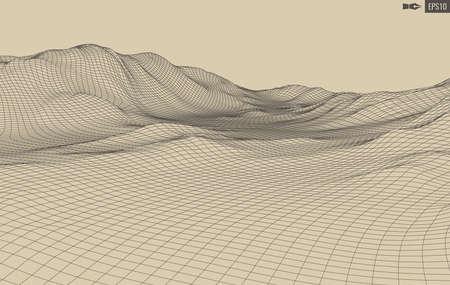 Fondo de paisaje de vector abstracto. Cuadrícula del ciberespacio. Ilustración de tecnología 3d.
