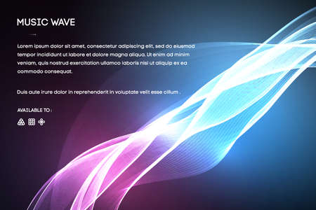 Wave Function series. Backdrop of colored sine vibrations, light and fractal elements to complement designs on the subject of sound equalizer, music spectrum and quantum probability Vektorové ilustrace