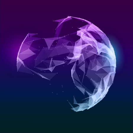Abstracte vector muziek bol. Futuristische technoachtergrond. Achtergrond voor bedrijfspresentatie. Abstracte blauwe driehoeken.