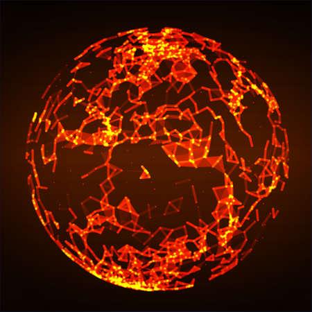 Low poly fire flame sphere Ilustração