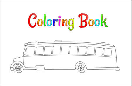 School bus coloring page, back to school concept, kids school vector illustration, school bus isolated on white background.
