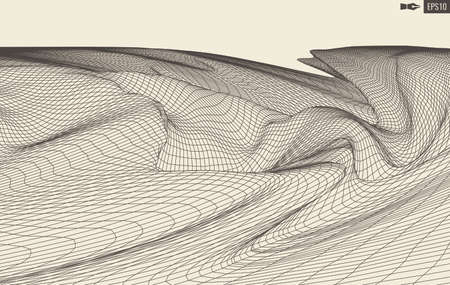 Abstract vector landscape background. Cyberspace grid. 3d technology illustration. Banco de Imagens - 124310291