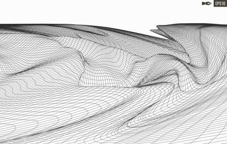 Abstract vector landscape background. Cyberspace grid. 3d technology illustration. Banco de Imagens - 124310295