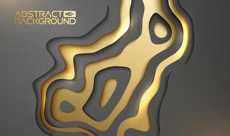 Luxury background for presentation. Gold on black vector wallpaper 3d backdrop. Black and golden design beaty. Banco de Imagens - 124152812