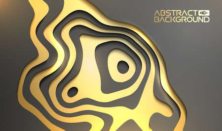 Luxury background for presentation. Gold on black vector wallpaper 3d backdrop. Black and golden design beaty. Banco de Imagens - 124152813
