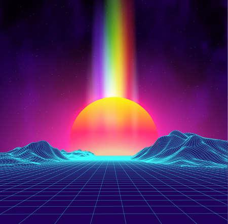 Retro tło futurystyczny krajobraz w stylu lat 80-tych. Cyfrowy retro krajobraz cyber powierzchni. Tło strony lat 80. . Moda retro lat 80-tych Sci-Fi tle Letni krajobraz.