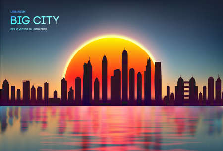 Vector sunset city skyline with modern buildings silhouette. Night city red with reflection in water EPS 10. Red dark skylights in spring. Banco de Imagens - 124132620