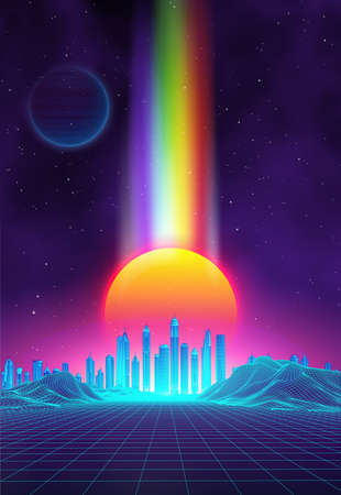 Retro background futuristic landscape 1980s style. Digital retro landscape cyber surface. 80s party background . Retro 80s fashion Sci-Fi Background Summer Landscape. Banco de Imagens - 124132621