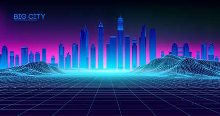 Retro background futuristic landscape 1980s style. Digital retro landscape cyber surface. Retro music album cover template : sun, space, mountains . 80s Retro Sci-Fi Background Summer Landscape. Ilustração