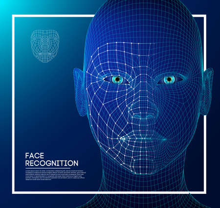 Robot blue eyes android with detailed iris and pupil. Facial recognition concept with sensor and face identity. 3D scanning.