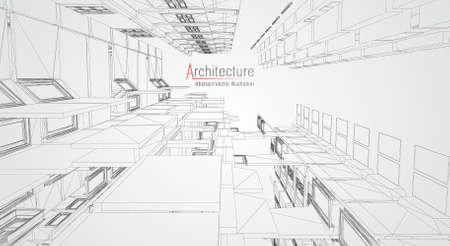 Drahtmodell für moderne Architektur. Konzept des städtischen Drahtgitters. Wireframe-Gebäudeillustration von Architektur CAD-Zeichnung.