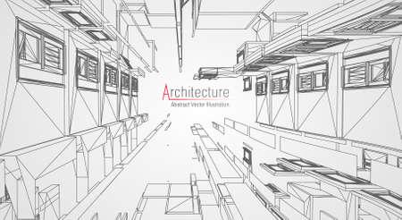 Architettura moderna wireframe. Concetto di wireframe urbano. Illustrazione della costruzione di Wireframe del disegno di CAD di architettura.