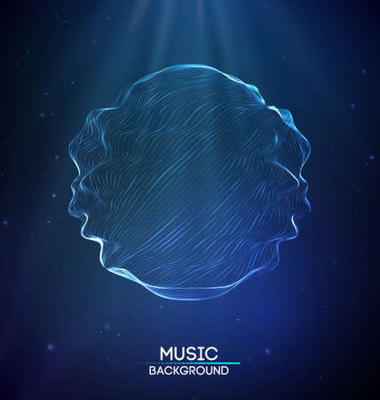 Music abstract background blue. Equalizer for music, showing sound waves with music waves, music background equalizer vector Ilustrace