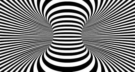 Fondo de líneas de ilusión óptica. Ilusiones 3d abstractas en blanco y negro. Diseño conceptual del vector de ilusión óptica. Ilustración de vector