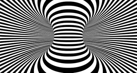 Optical illusion lines background. Abstract 3d black and white illusions. Conceptual design of optical illusion vector.  イラスト・ベクター素材