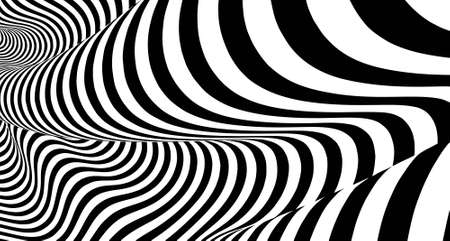 Optical illusion lines background. Abstract 3d black and white illusions. Conceptual design of optical illusion vector. Çizim