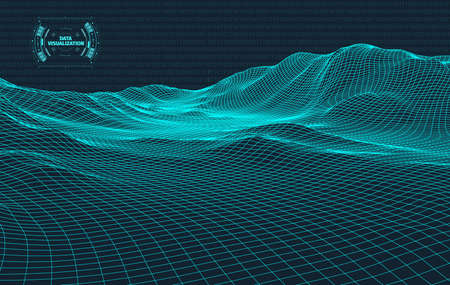 Big data visualization. Background 3d .Big data connection background. Cyber technology Ai tech wire network futuristic wireframe data visualisation. Vector illustration . Artificial intelligence . 免版税图像 - 123067178